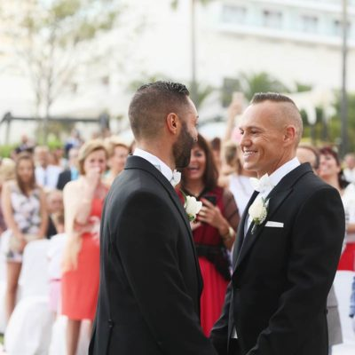 Momentos antes del matrimonio