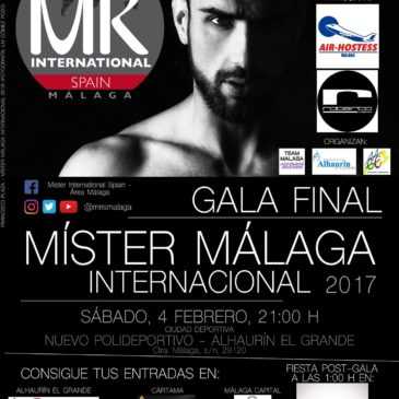 Cartel y fotos oficiales de Míster Internacional Málaga 2017